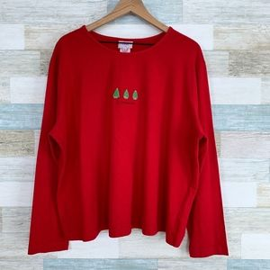 Hot Cotton Christmas Tree Shirt Red Vintage
